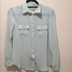 Loft mint colored L/S utility blouse